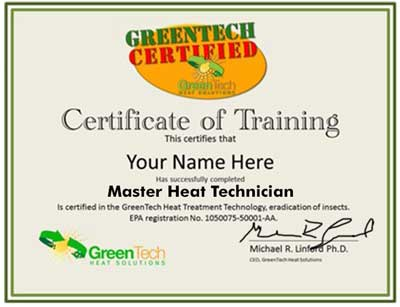 bed bug heat treatment master certification